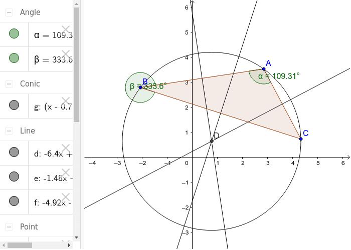 cercul circumscris unui triunghi Apăsați Enter pentru a începe activitatea