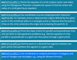 Expressing Geometric Properties with Equations (GPE) Cluster