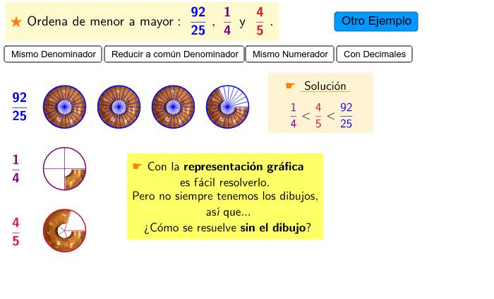 Comparar Y Ordenar Fracciones Geogebra