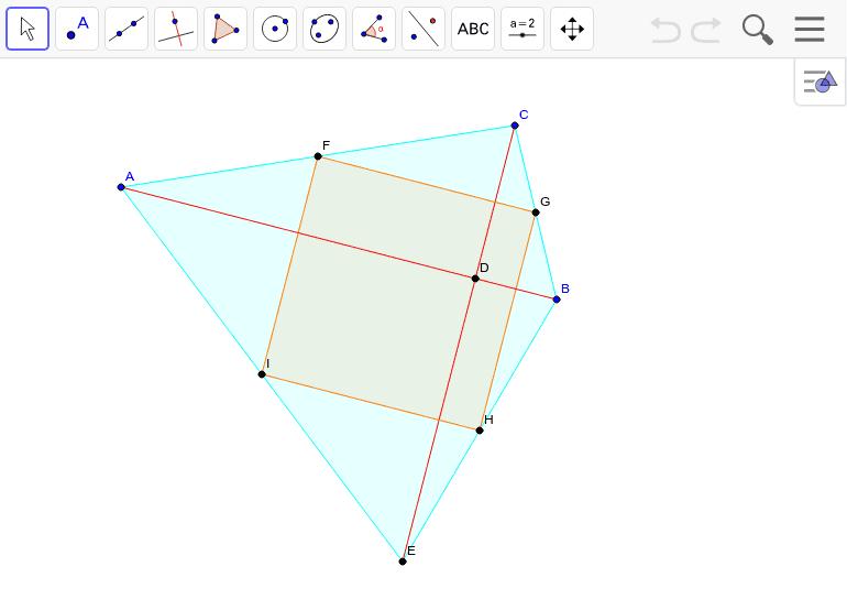 対角線の長さが等しくて直交する四角形。対角線の中点どうしを結ぶと? ワークシートを始めるにはEnter キーを押してください。