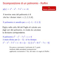 Ruffini - Scomposizione di un polinomio