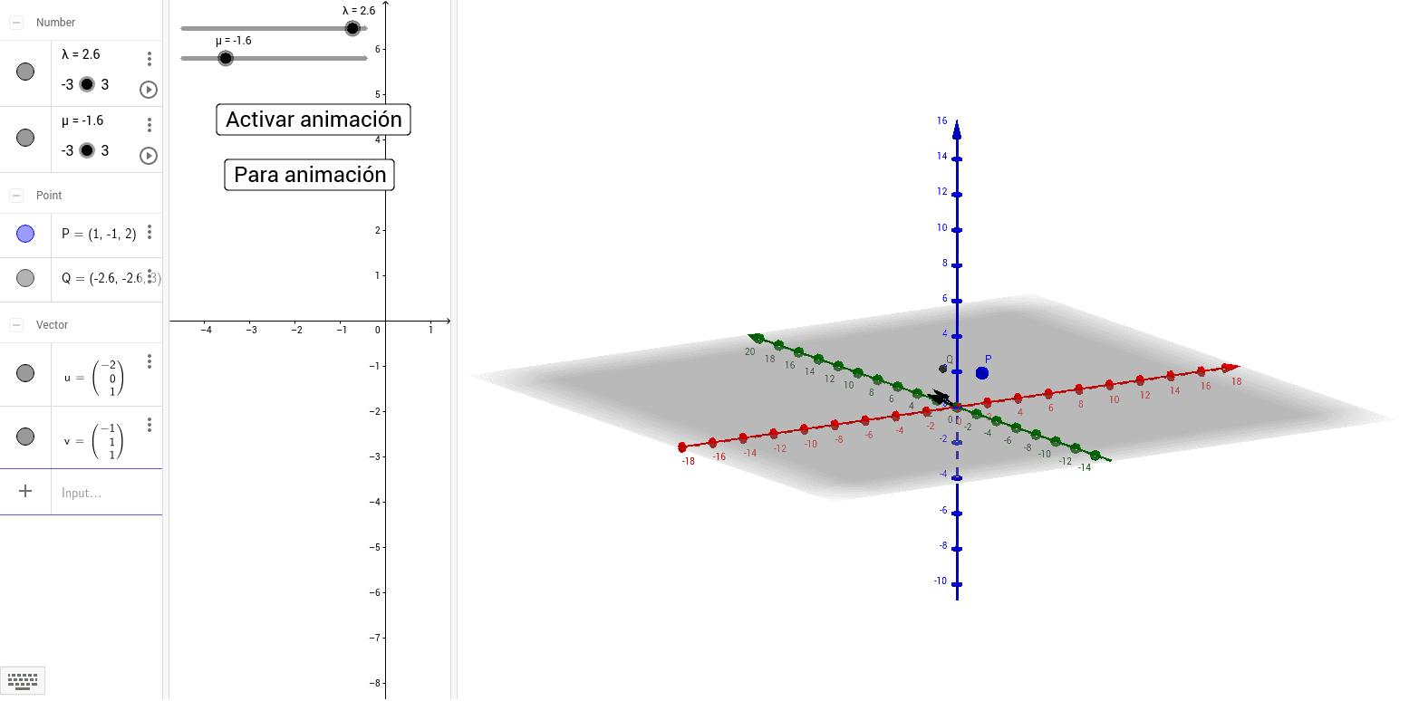 Animación para visualizar la construcción del plano como la suma de un punto por el que pasa más una combinación lineal de los vectores directores.