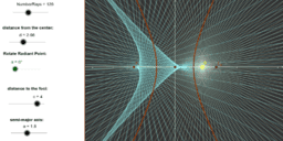 Catacaustic of a Hyperbola - Radial Rays