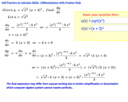 Differentiation using Product Rule Self Practice Sheet