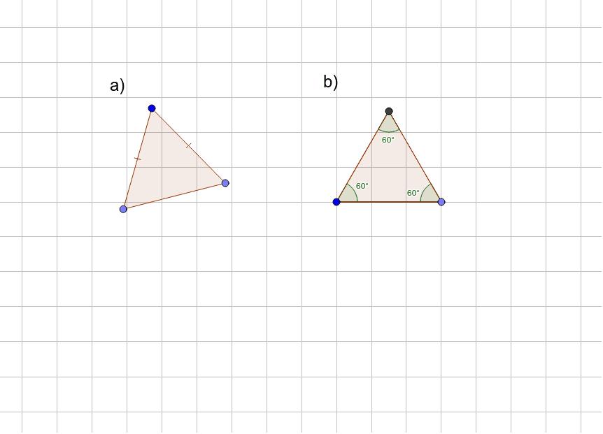 a) tasakylkinen kolmio. b) tasasivuinen kolmio.