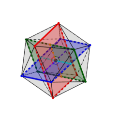 Golden ratio in regular icosahedron