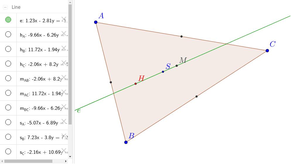 Welche drei speziellen Punkte sind H, S und M? (Tipp: Du kannst einzelne Konstruktionsgeraden links durch Klick in die Kreise anzeigen lassen)