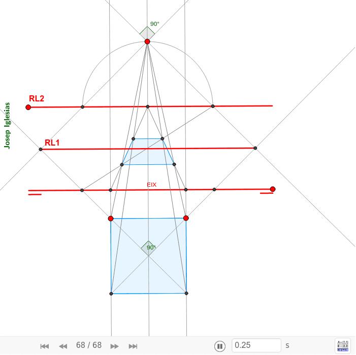 Homologia d'un quadrat paral·lel a l'eix d'homologia definit per RL2 i Origen.