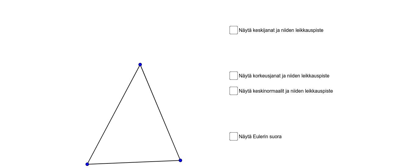 Voit muuttaa kolmion muotoa kärkipisteitä siirtämällä.