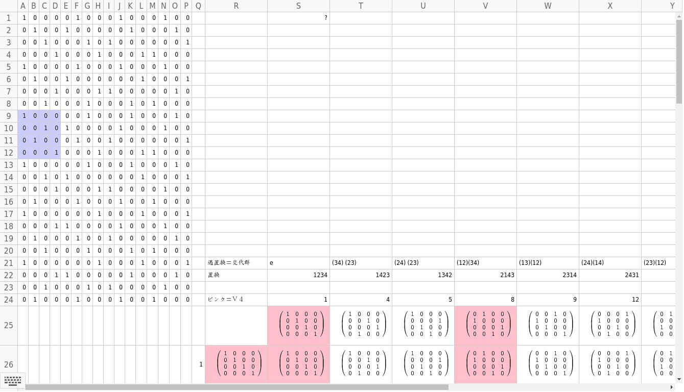 4次の交代群とその正規部分群 ワークシートを始めるにはEnter キーを押してください。