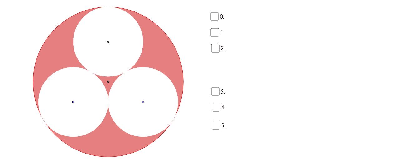 Gegeben ist der Radius r des grossen Kreises. Die drei kleinen Kreise berühren sich gegenseitig sowie den grossen Kreis. Welchen Inhalt hat die schraffierte Fläche? Press Enter to start activity