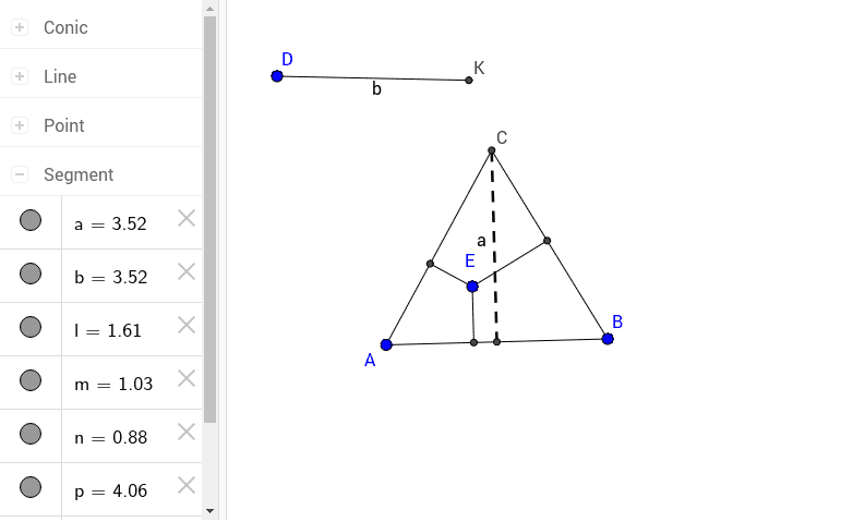 The sum of the lengths of the segments from E is equal to the length of the altitude of the triangle