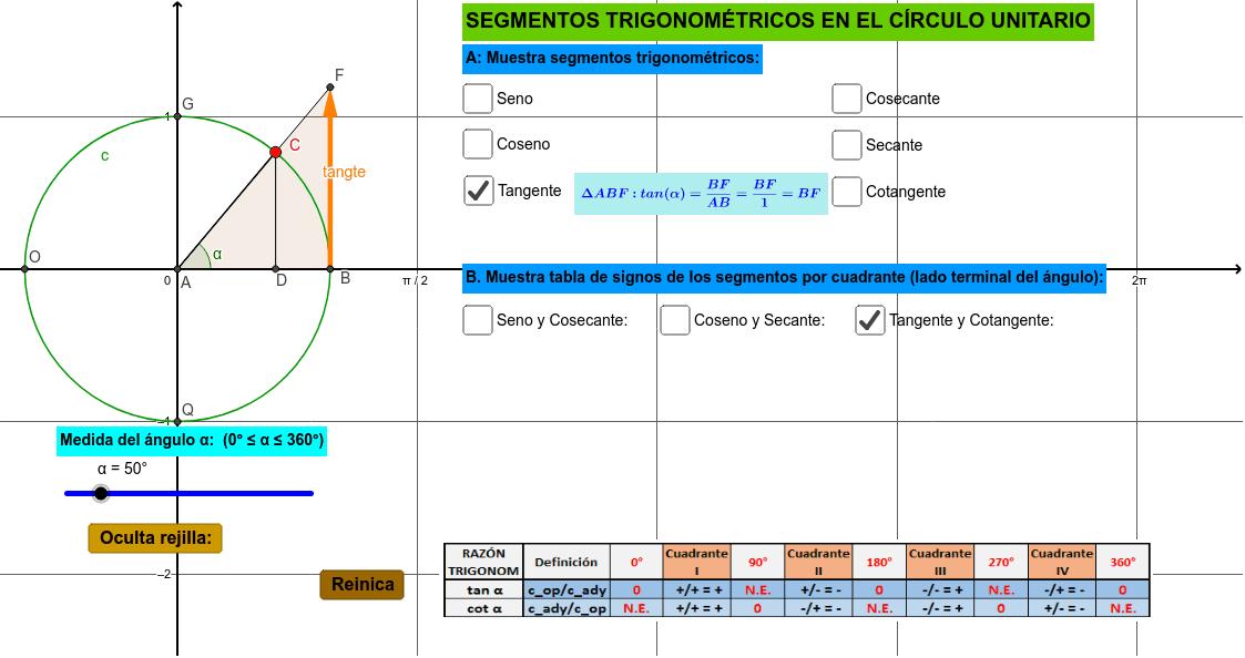 Aplicativo para analizar los segmentos trigonométricos en el círculo unitario Presiona Intro para comenzar la actividad