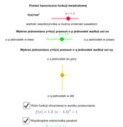 postać kanoniczna funkcji kwadratowej