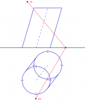 Diédrico. Sección dun cilindro oblicuo cun plano oblícuo