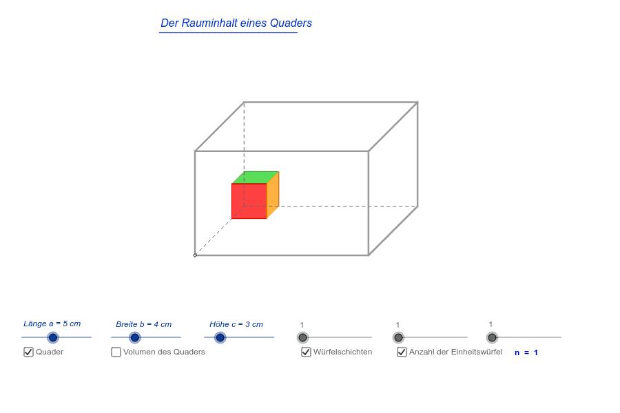 das volumen eines quaders berechnen geogebra. Black Bedroom Furniture Sets. Home Design Ideas