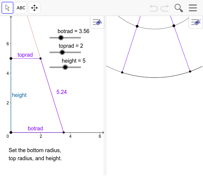 This applet helps you make a pattern for a round lampshade with slanted sides. To print the whole pattern at once (on bigger paper), see https://ggbm.at/WAyTfPCR.