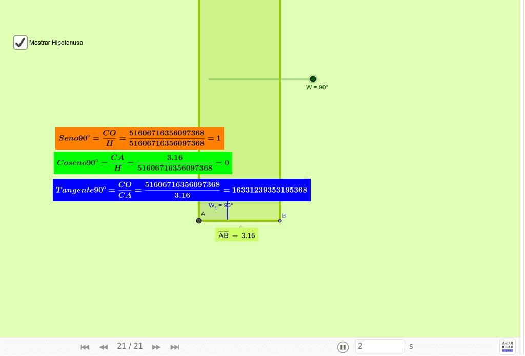Mueve el deslizador (W) para modificar el ángulo interno (W1). Mueve el punto B y observa lo que ocurre con los lados del triángulo.