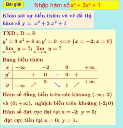 Khảo sát sự biến thiên và vẽ đồ thị hàm số bậc ba.