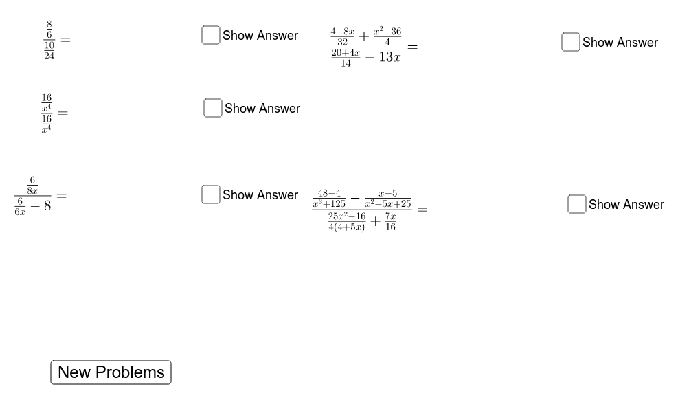 Complex Fractions are basically Fractions within Fractions. Try solving the following problems on your own before clicking the 'show answer' button. Press Enter to start activity