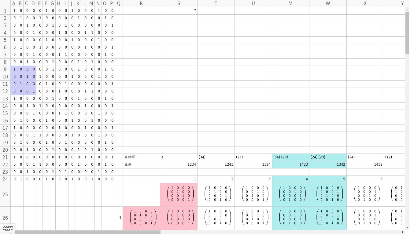 交代群A4は遇置換全体でS4の正規部分群。置換の結果と行列は自然に対応している。 ワークシートを始めるにはEnter キーを押してください。
