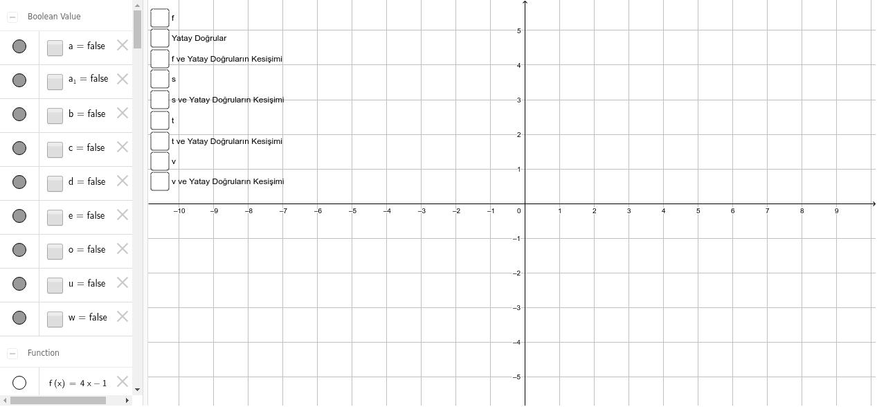 Fonksiyonlarda Birebirlik ve Örtenlik için Grafikte Yatay Doğru Testi Etkinliği başlatmak için Enter'a basın