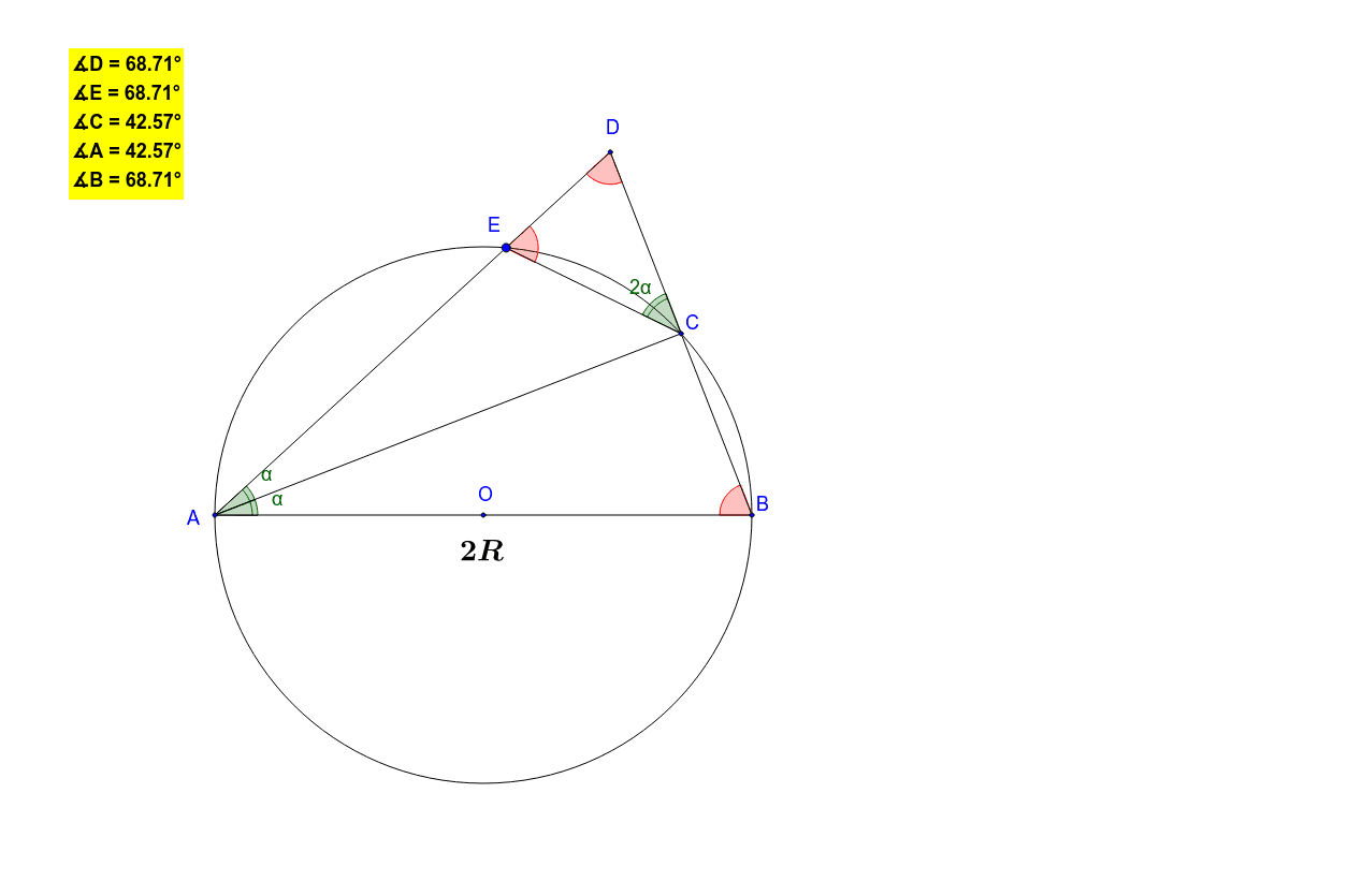 AC is the bisector of angle DAB. Then while dragging  vertex E, one can see that similar triangles DAB and DCE are isosceles.