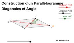 Parallélogramme - Construction - Diagonales et Angle