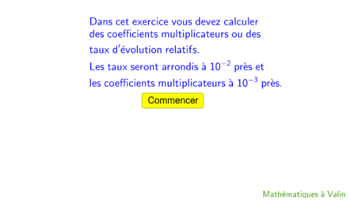 Calculs De Coefficients Multiplicateurs Ou De Taux D Evolution