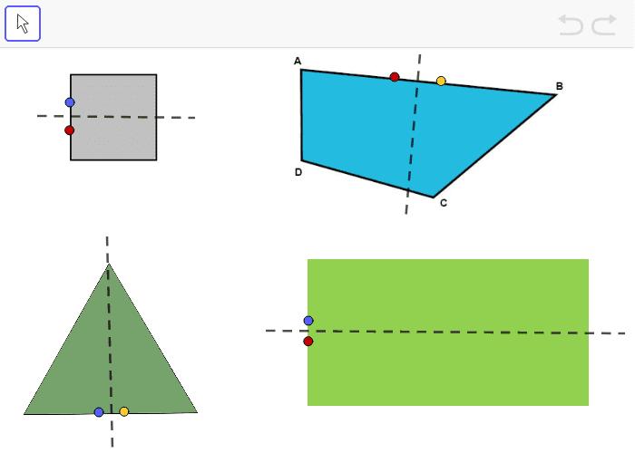 Undersök spegelsymmetri på några geometriska figurer Tryck på Enter för att starta aktiviteten