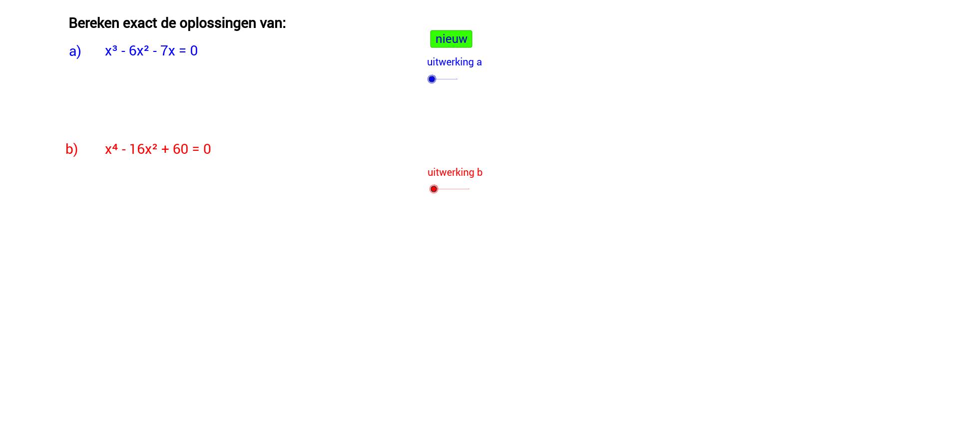 Oplossen van derdegraads- en vierdraads vergelijkingen