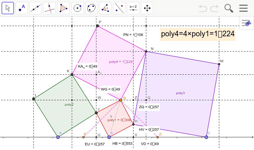 poly4=4×poly1であることを証明してみよう。UB=a、BV=bとすると・・・ Press Enter to start activity
