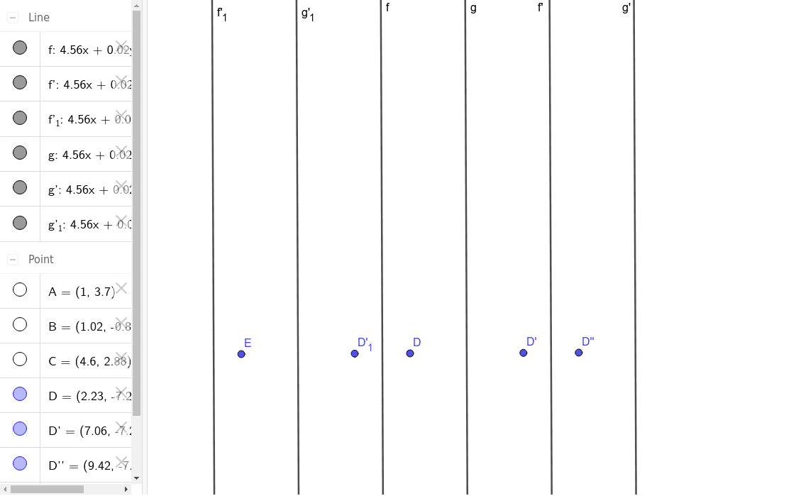 Drag Point D (keep between lines f & g) to make a p1m1 Frieze group. Press Enter to start activity