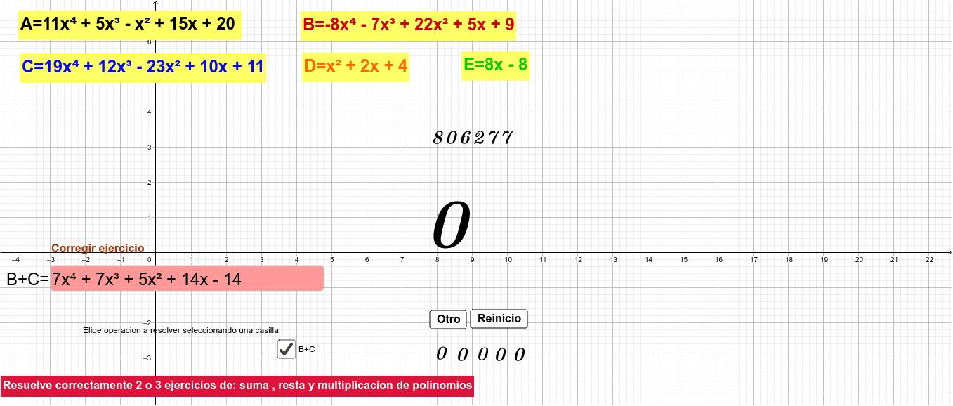 Practicar las operaciones con polinomjos... Presiona Intro para comenzar la actividad