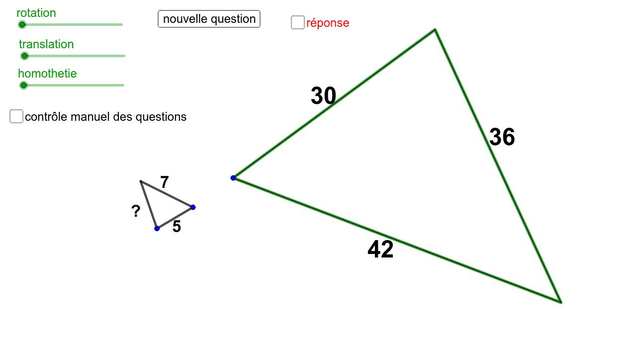 """Les triangles sont semblables. Calculer la valeur manquante. Tapez """"Entrée"""" pour démarrer l'activité"""