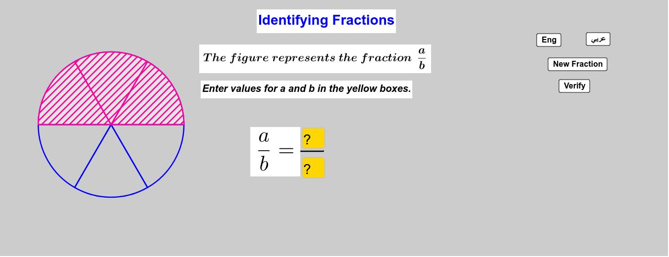 Identify Fractions      تمييز الكسور Press Enter to start activity
