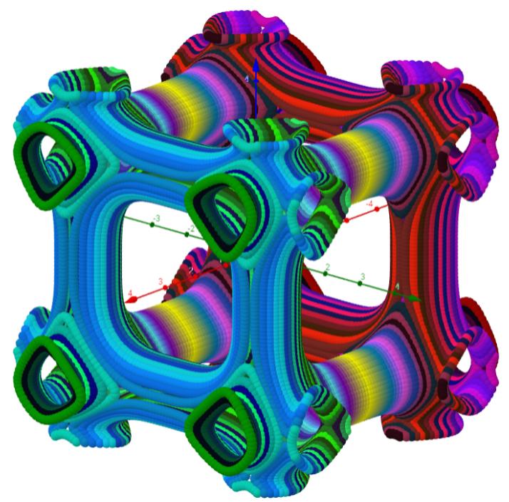 Elementarzelle: cos(x² / 2.2) + cos(y² / 2.2) + cos(z² / 2.2)=0 (90x90 Punkte)