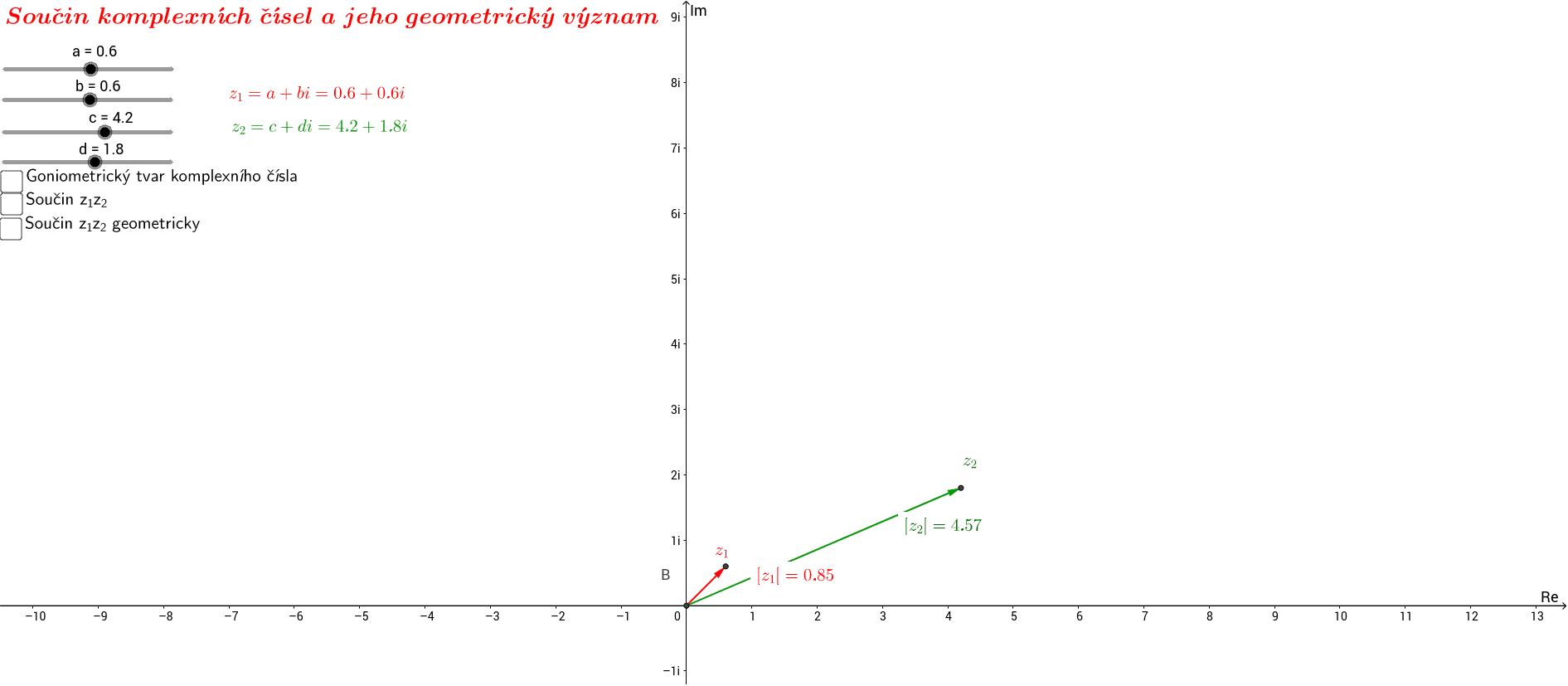 Součin komplexních čísel a jeho geometrický význam