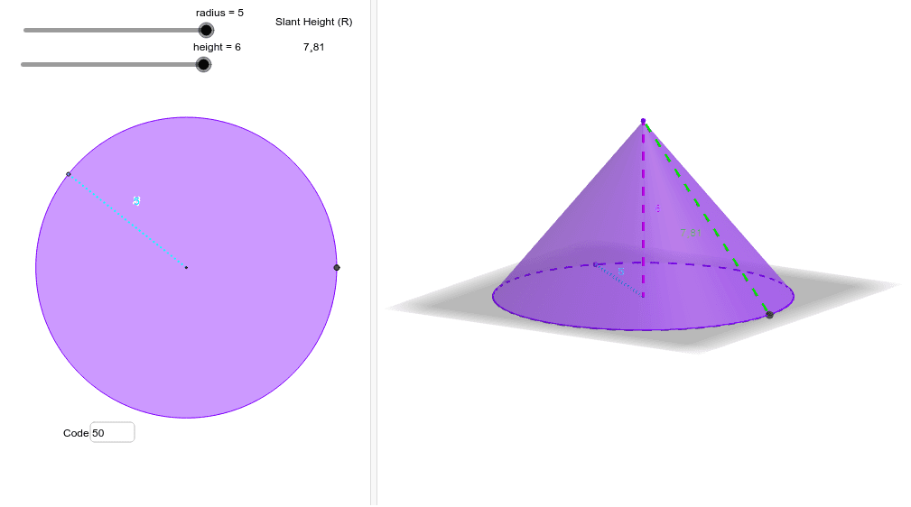 Calculate the volume & total surface area of the cone.  Record your results for r=3 & h=6 and r=5 & h=4.5.  Ask your teacher for the solution code. Press Enter to start activity