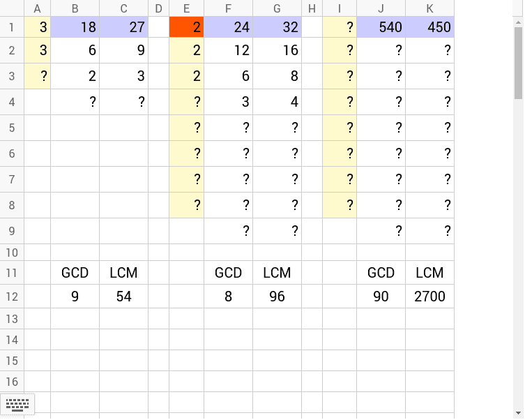右の二つの数のIの列に素数を入力してみよう。色のついた所に入力できます。