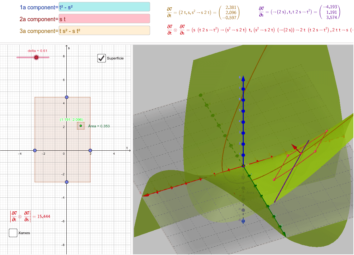 Introduïu les components de la superfície parametritzada