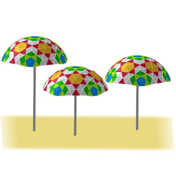Paraguas geodésicos 6V basados en el icosaedro Press Enter to start activity