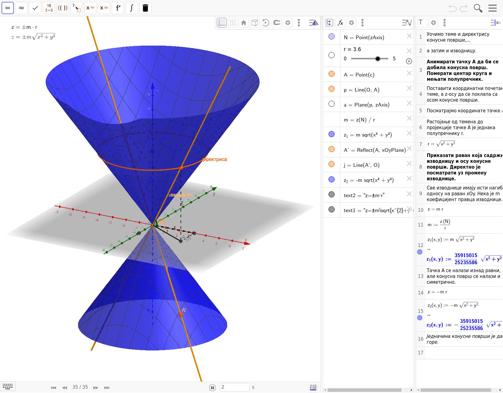Извођење једначине конусне површи