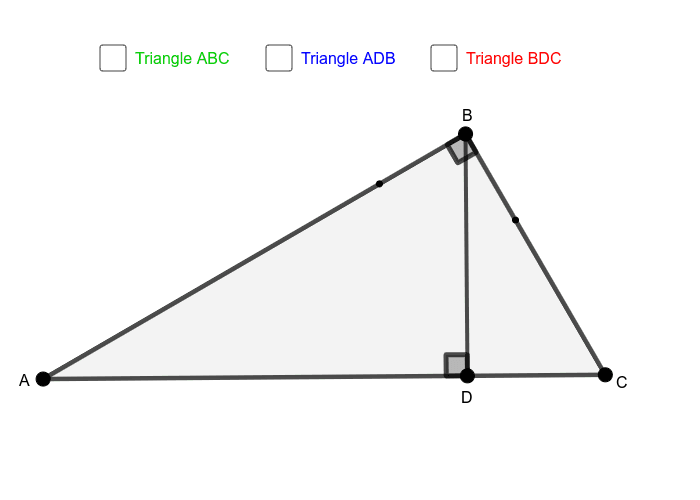 Altitude BD divides triangle ABC into two smaller triangles. Press Enter to start activity