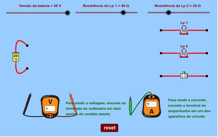 Crie um circuito arrastando os componentes e interligando as extremidades dos fios à bateria. Press Enter to start activity