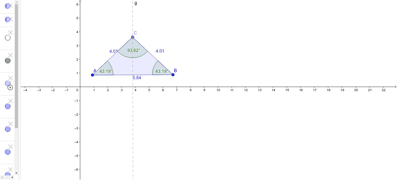 Bewege den Punkt C auf der Geraden g auf und ab. Kontrolliere dabei ob das gleichschenklige Dreieck erhalten bleibt.