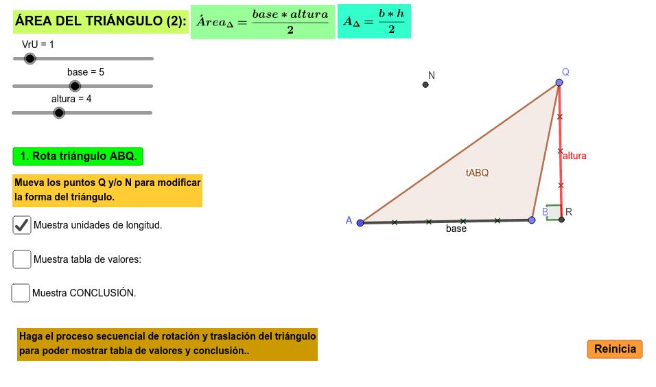 Aplicativo para analizar el área de un triángulo con base en el romboide y su fórmula matemática Presiona Intro para comenzar la actividad