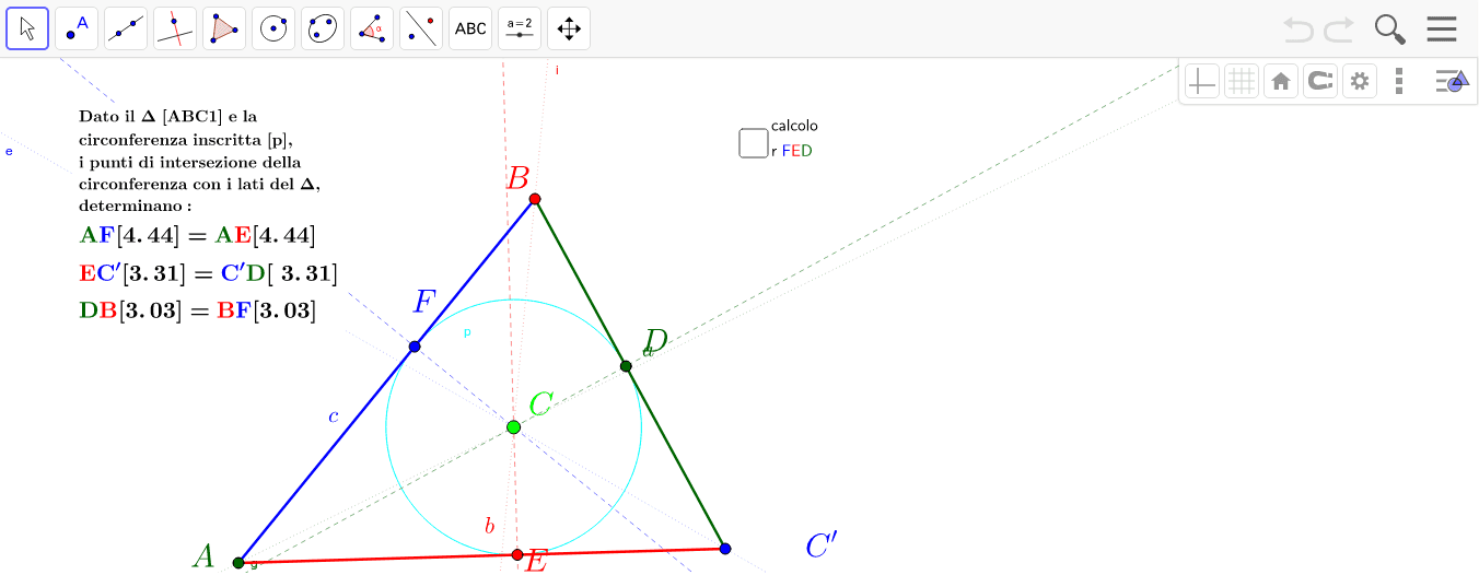 costruzioni e dimostazioni - triangolo cerchio inscritto punti intersezione.ggb