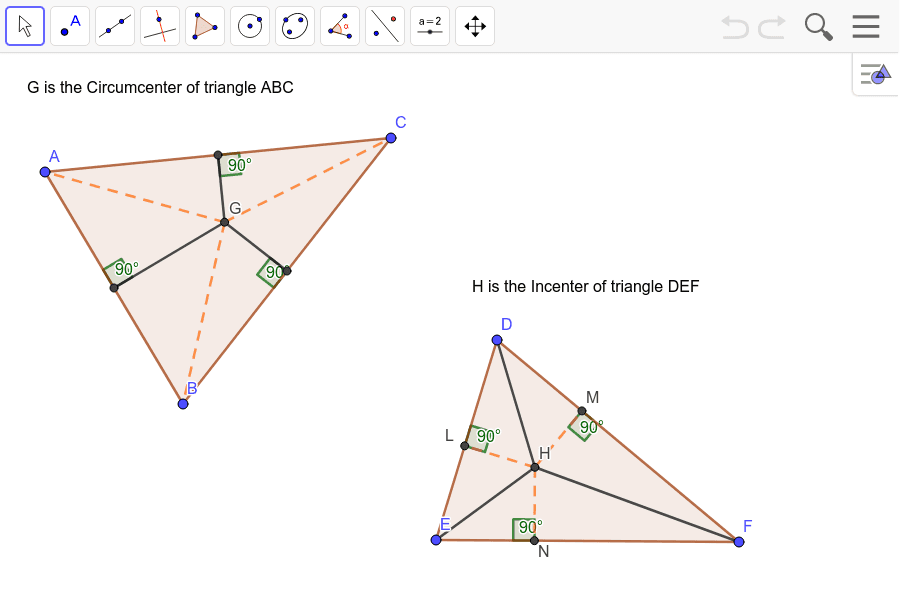 Circumcenter and Incenter of a Triangle Press Enter to start activity