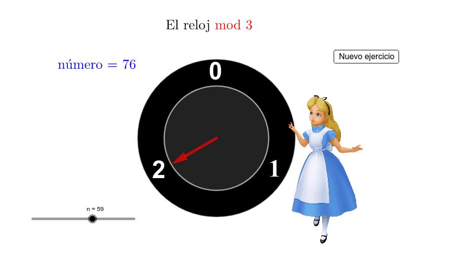 Ejemplo de aritmética modular. Presiona Intro para comenzar la actividad